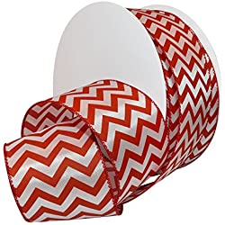 """Morex Ribbon 7421.60/50-609 French Wired Peppermint Chevron Polyester Ribbon, 2 1/2""""/50 yd., Red/White"""