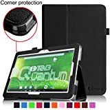 [Corner Protection] Fintie Matricom G-Tab 10.1 Folio Case - Premium PU Leather Cover with Stylus Holder for Matricom G-Tab Quantum / Matricom G-Tab Iota 10.1-Inch Android Tablet - Black