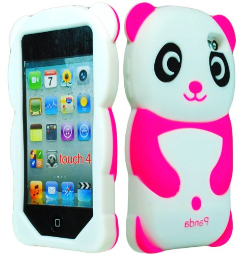 Bastex Soft Gel Silicone Flexible Cute Panda Case For Apple Ipod Touch 4, 4G - Hot Pink & White front-462683