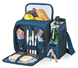 Picnic Time Malibu Insulated Cooler Picnic Tote, Service for 2, Navy Blue