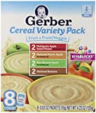 Gerber Cereal Variety Pack, Fruit and Fruit/Veggie, 8 Count (Pack of 4)