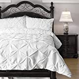 Emerson Pinch Pleat 4-Piece Lightweight Summer Comforter Set, Queen, White