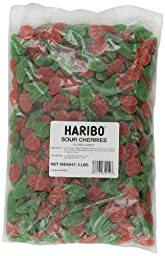 Haribo Gummi Candy, Sour Cherries, 5-Pound Bag