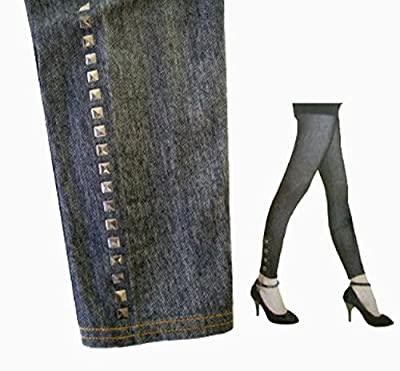 Denim Colored Gun Metal Studded Design Women's Fashion Design Stretch Leggings