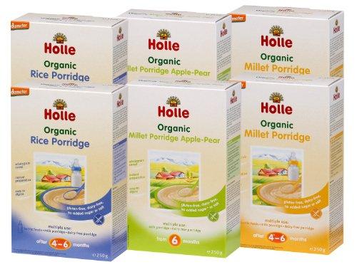 Holle Organic Baby Porridges - Weaning Starter Porridge Pack - Multi-pack, 6 x 250g