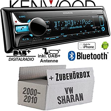 VW Sharan 1 7M - Kenwood KDC-X7000DAB - Bluetooth | CD | MP3 | USB | DAB+ Digitalradio Autoradio inkl. DAB Antenne - Einbauset