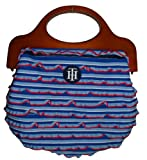 Tommy Hilfiger Women's Handle Bag, Red/White/Blue /Navy With Brown Trim