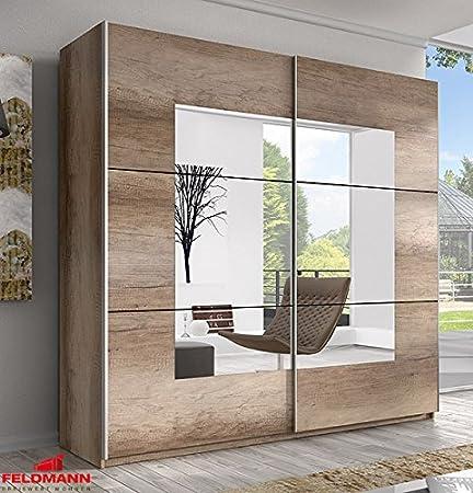 Schwebeturenschrank Kleiderschrank 54565 country eiche grau 200cm mit Spiegel