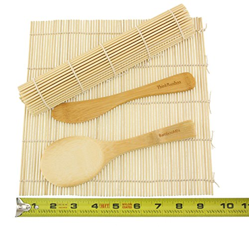 BambooMN Brand - Sushi Rolling Kit - 2x rolling mats, 1x rice paddle, 1x spreader - natural (Make Your Own Sushi Kit compare prices)