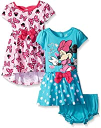 Disney Baby-Girls Minnie Mouse Dresses, Pink/Blue, 6-9 Months (Pack of 2)