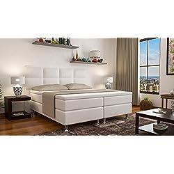Boxspringbett MIAMI Hotelbett Betten 140x200 cm oder 180x200 cm mit Visco Topper (Weiss, 180x200 cm)