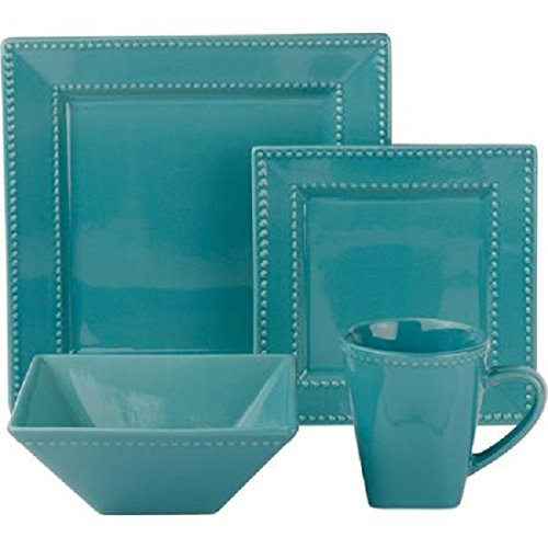10 Strawberry Street NOVA16GRNSQBD 16 Piece Nova Square Set, Teal