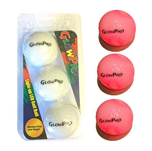 Glowpro Led Light-Up Golf Ball 3 Pack, Official Size And Weight (Red)