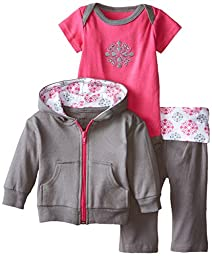 Yoga Sprout Baby-Girls 3 Piece Hoodie Bodysuit and Pant Set, Pink Medallion, 3-6 Months