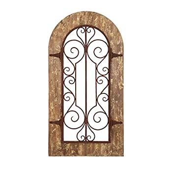Deco 79 Wooden and Metal Wall Panel with Stately Design and Antiqued Look