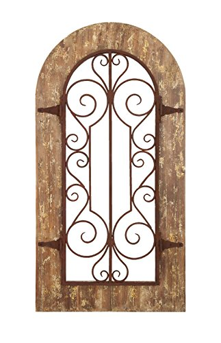 Deco 79 Wooden And Metal Wall Panel With Stately Design