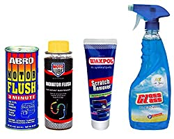 Combo of 4 Items - Abro Motor Flush 300 ml. & Moto Lube Radiator Flush 300 ml. & Waxpol Scratch Remover 150 gr. & Auto Pearl Air Gloss Car Glass Cleaner 500 ml.