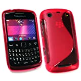 Kit Me Out UK TPU Gel Case + Screen Protector with MicroFibre Cleaning Cloth for BlackBerry Curve 9350 / 9360 / 9370 3G - Red S Wave Pattern