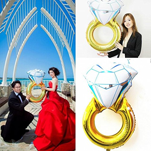 """Set of 2 Giant 45"""" Diamond Engagement Ring Mylar Balloons for Proposal Vow Renewal Valentine's Day Bridal Shower Wedding Bachelorette Parties Decoration. Huge Bling Favor. Extra Large Party Statement."""