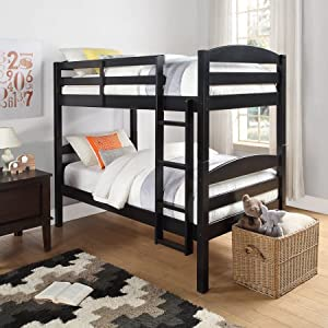 Solid Wood Twin Bunk Bed - Twin Over Twin in Black By Mainstays. Perfect Furniture for Girls or Boys Bedroom