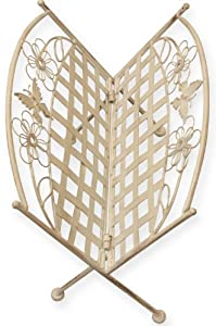 MARIBELLE FOLDING WHITE FLORAL DESIGN MAGAZINE/PAPER RACK STAND HOME