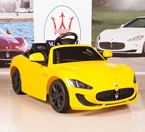 12v electric kids ride on car maserati grancabrio with rc remote painted yellow little kid cars
