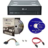 LG 16X Blu-ray M-Disc CD DVD BDXL BD Burner Drive with FREE 1pk Mdisc DVD + Cyberlink 3D Playback Burning Software + Cables & Mounting Screws WH16NS40
