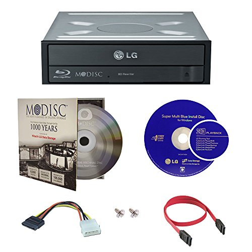 LG WH16NS40 16X Super Multi M-Disc Blu-ray BDXL CD DVD Internal Burner Writer Drive + FREE 1pk Mdisc + Cyberlink Software + Cables & Mounting Screws