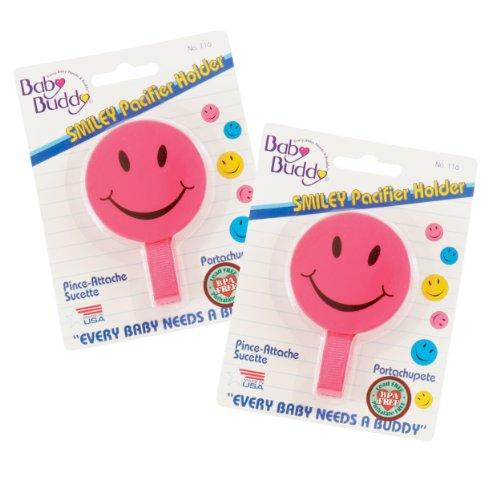 Baby Buddy - 2 Ferma ciuccio con smiley, 0-36 mesi, colore: Rosa