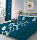 TEAL PRINTED DOUBLE DUVET QUILT COVER BED SET
