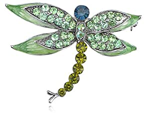 Peridot Green Austrian Crystal Rhinestone Dragonfly Fashion Jewelry Pin Brooch