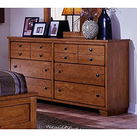 Alameda 6 Drawer Dresser - Fully Assembled, Solid Pine with Pine Veneer, Cinnamon Finish