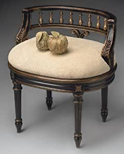 accent furniture venezia vanity chair vanity seat accent chair black finish. Black Bedroom Furniture Sets. Home Design Ideas