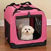 MEDIUM PET FOLDING PINK CARRIER TRANSPORT CRATE M SUITABLE FOR CATS, DOGS