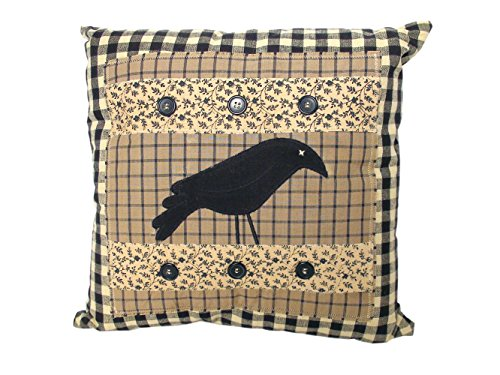 Crow With Buttons Pillow - 16 Inch Square front-1051333