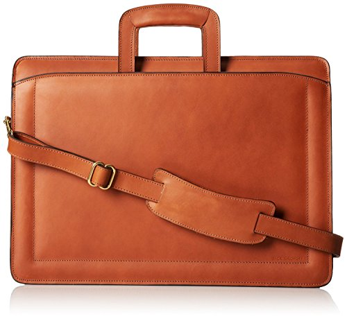Jack Georges Belting Triple Gusset Top Zip Leather Briefcase in Tan