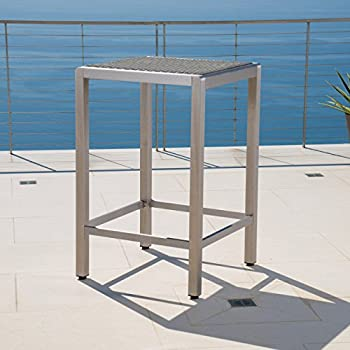 Crested Bay 3 Piece Grey Outdoor Wicker and Aluminum Bar Set (3 Piece Set, Grey with Wicker Top)