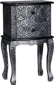 Beautiful Blackened Silver Embossed Metal Bedside / Lamp Table       reviews