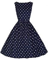 Lindy Bop 'Audrey' Marine Polka Point millésime 1950's Swing Robe