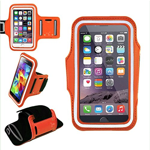 ECellStreet TM Armband for Running Sport Exercise Gym Arm band Sleeve Case Water Resistant + Sweat Proof + Key Holder + ID/Credit Card/Money Holder For Microsoft Lumia 435,Apple iPhone 5C, Samsung Galaxy Core, BlackBerry Z10,XOLO Q900s,XOLO Prime,Lenovo S650, Moto G ,etc. - Orange ( Supported Upto 5 Inches Smartphones )
