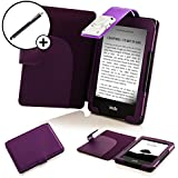 Forefront Cases® New Leather Case Cover and LED Strip Reading Light for Amazon Kindle with Touch (7th Generation - October 2014) - Full device protection with 3 YEAR FOREFRONT CASES WARRANTY + STYLUS