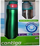 Contigo 2 Pack Vacuum-Insulated Stainless Steel Water Bottles (Green/Silver)