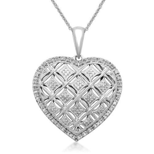 Sterling Silver Diamond Heart Pendant Necklace (1/5 cttw, I-J Color, I2-I3 Clarity), 18