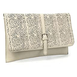 BMC Decorative Ornate Cut Out Design Creamy Beige Faux Leather Fashion Statement Envelope Clutch