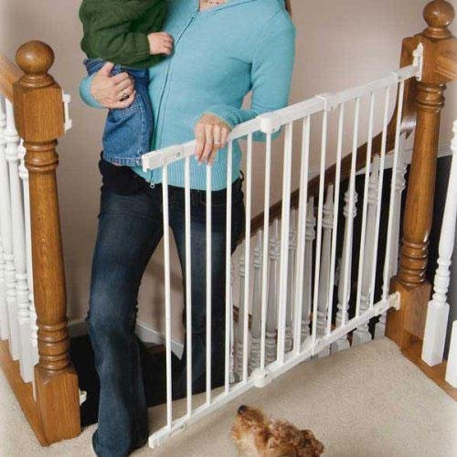 Metal Angle-Mount Safeway Baby Gate WHITE