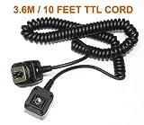 3.6M /10 FEET E-TTL Off-Camera Shoe Cord for Canon DSLR Flash 580EX II 550E ....
