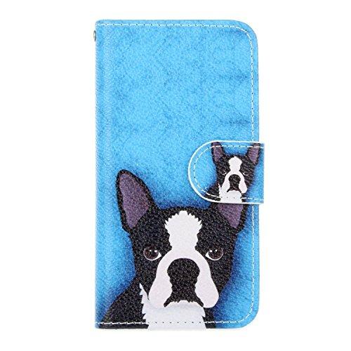 DOTORA iPhone SE / iPhone 5S / iPhone 5 対応レザーケース 手帳型 おしゃれ かわいい 絵柄 マグネット ストラップホール付 icカード収納 スタンド機能 耐衝撃 防塵 保護 カバー 犬