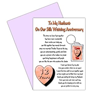 Wedding Gifts 12 Year Anniversary : 12th Wedding Anniversary Card With Removable Keyring Gift - 12 Years ...