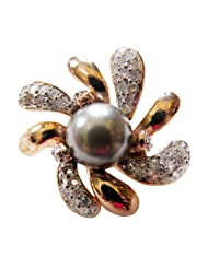 Alkafashionjewels Copper Colour Ring With Grey Pearl In Centre And Cz Stones For Women