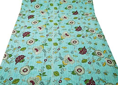 queen size edredón Gudri decoración del hogar étnico estampado de flores cama de estilo kantha extendió 108